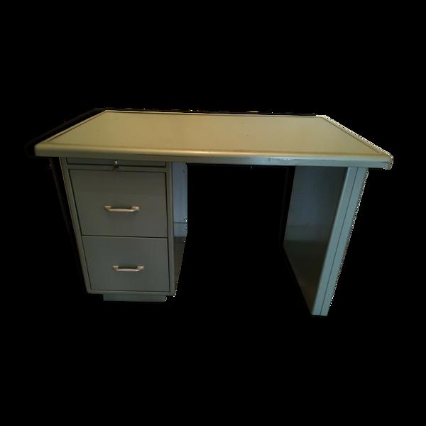 Bureau métal meuble an 50 déco loft 2 tiroirs 1 tablette usine atelier