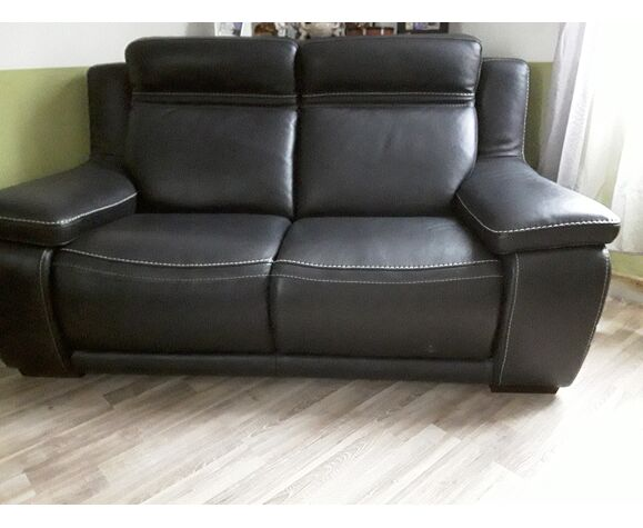 Dark grey leather sofa