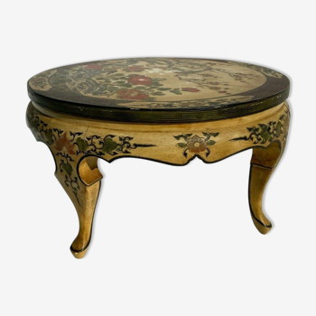 Table basse ronde chinoise laque fond creme ancienne decor floral