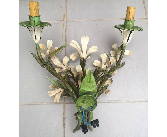 Applique florale en métal atelier Ciani Italie vintage