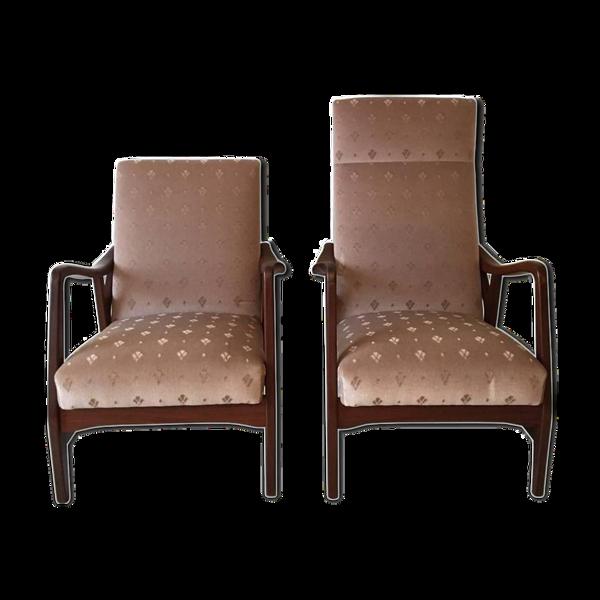 Paire de fauteuils en teck massif par Topform années 1950-1960