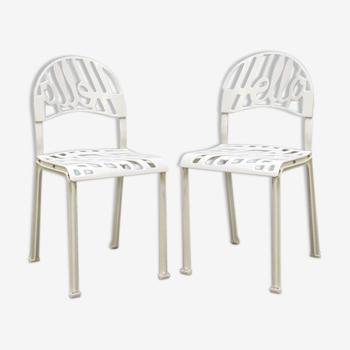 Vintage 'bonjour là- bas' Popart chaises Jeremy Harvey Artifort