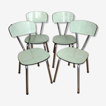 Suite de 4 chaises en formica vert d'eau
