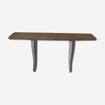 Console patinated gray pearl, wood top waxed finish.