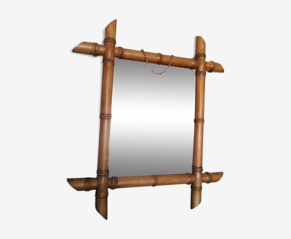 Miroir ancien en bois façon bambou - 47x41cm