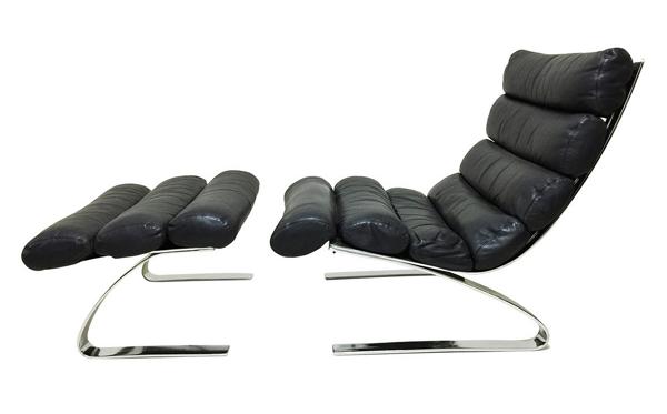 Chaise longue en cuir noir by Cor Germany - 1970
