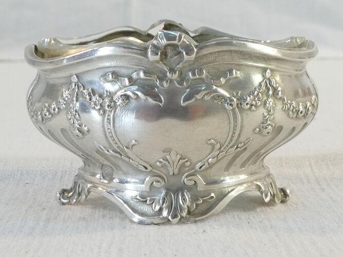 Paire de salerons en argent massif style Louis XVI