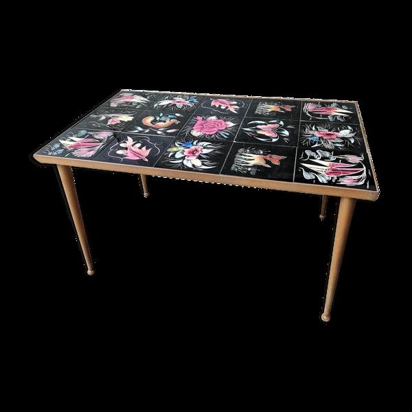 Table basse vintage carreaux céramique