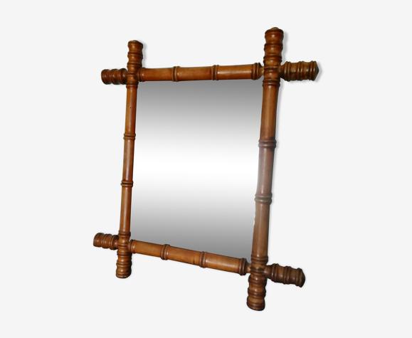Miroir ancien en bois façon bambou - 45x40cm