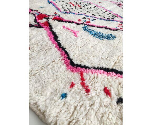 Tapis berbère marocain Azilal écru à motifs colorés 313x200cm