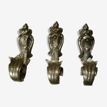 Patères de porte manteau en bronze nickelé