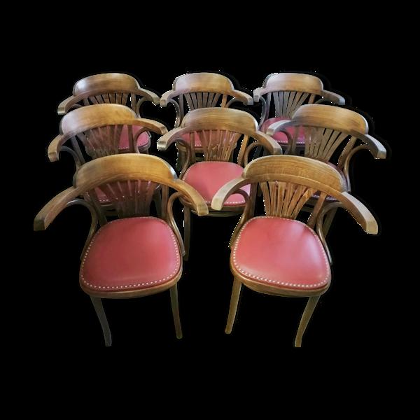 Selency Set de 8 fauteuils bistrot