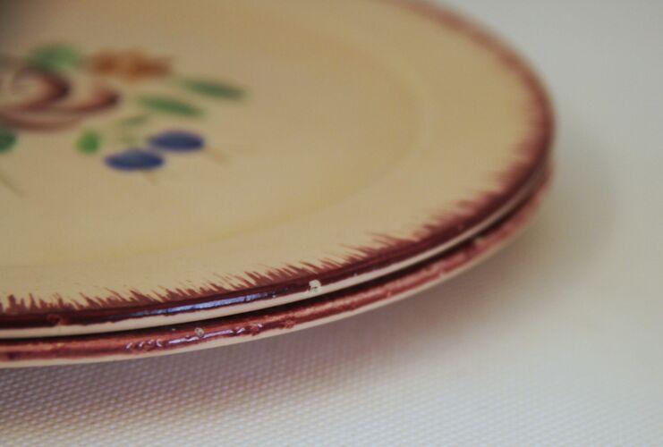Lot de 2 assiettes à dessert Aurore des faïenceries Longchamp