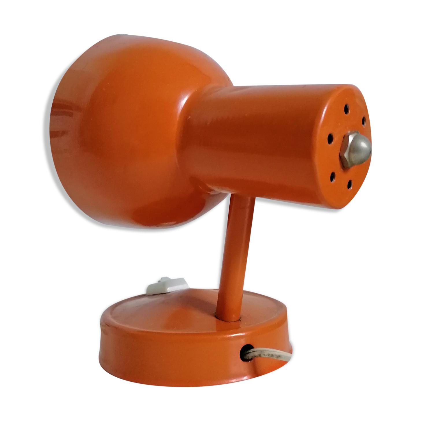 Lampe spot métal orange vintage
