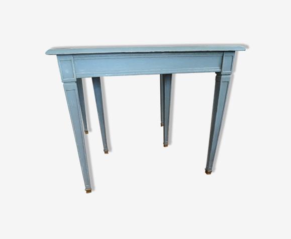 Table style Louis XVI gris cérusé 3 rallonges