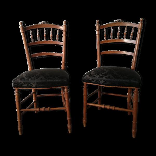 Set de 2 chaises anciennes retapissées