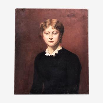 Tableau ancien portrait de jeune femme