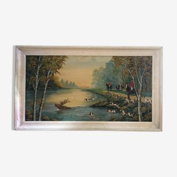 Ancien tableau huile sur panneau p. foy chasse à cour + cadre bois blanc vintage