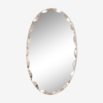 Miroir Art déco biseauté ovale 33x55cm