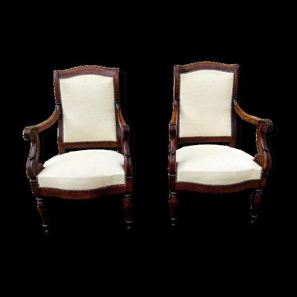 Paire de fauteuils en acajou d'époque Restauration estampillés Guinard