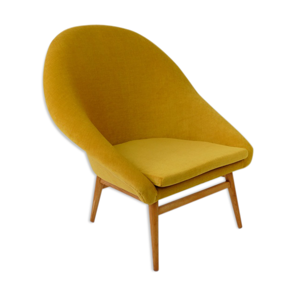 Fauteuil coque jaune vintage