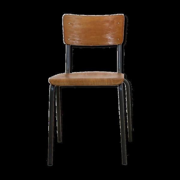 Chaises industrielles en contreplaqué de design néerlandais