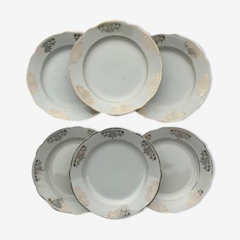 Série de 6 assiettes plates en porcelaine