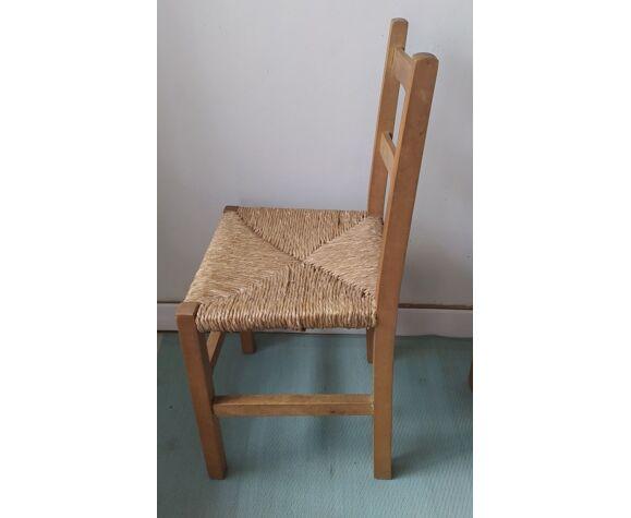 Trio de chaise bois et paille design epuré