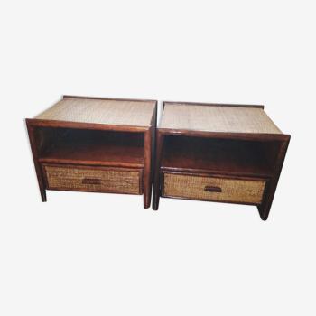 Paire de tables de chevet rotin et bambou, vintage