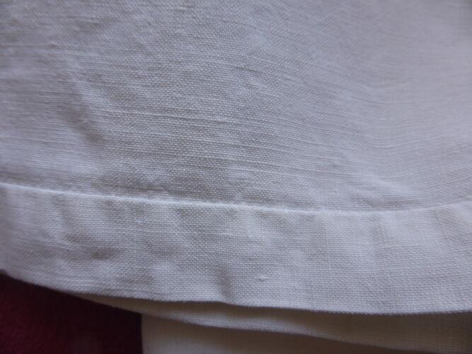 Drap ancien en lin brodé d'un grand monogramme GH+découverte festonnée-220x312cm