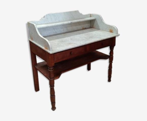 Meuble de salle de bain ancien avec dessus marbre