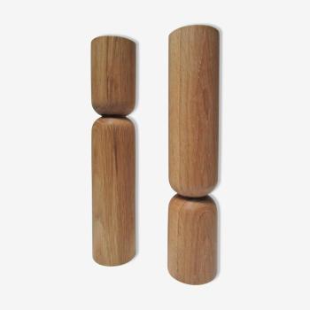 Paire de bougeoirs bois massif