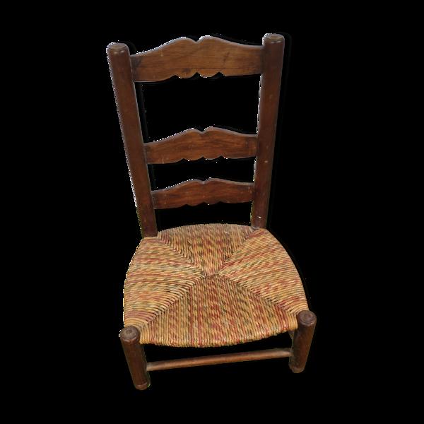 Chaise paillée en chêne enfant