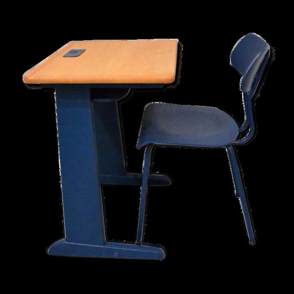 Bureau bois/bleu et chaise