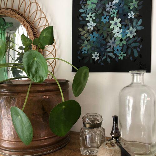 Peinture fleurs bleues