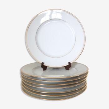 Set de 8 assiettes à dessert en porcelaine de Limoges