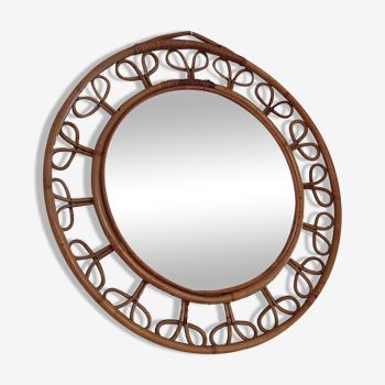 Miroir vintage biseauté en rotin 52,5cm