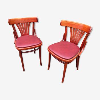 Chaises bistrot style Baumann simili cuir vintage 80s
