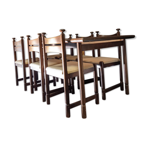 Selency Table avec 6 chaises Asko Export
