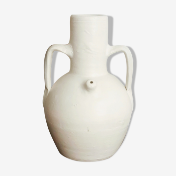Vase amphore vintage terre cuite blanc minimaliste