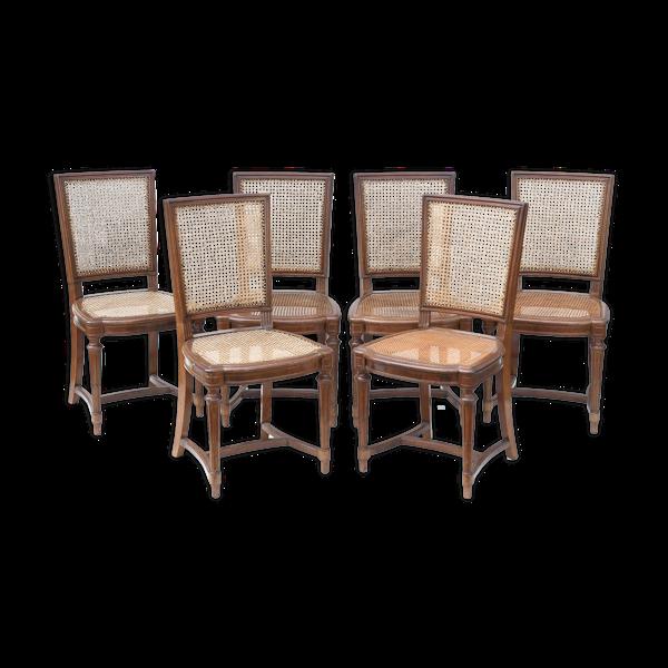 Suite de 6 chaises cannées