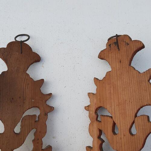 Paire d'appliques montagne Savoie bois peint vintage