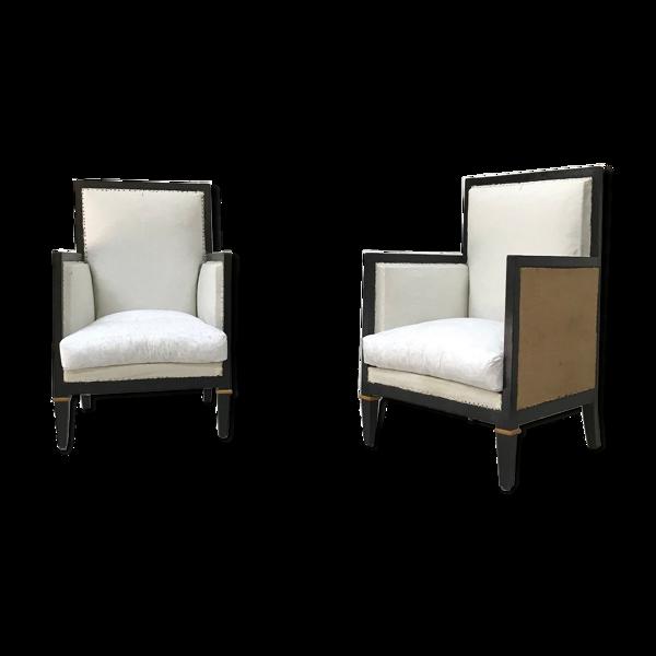 Paire de fauteuils en bois noirci