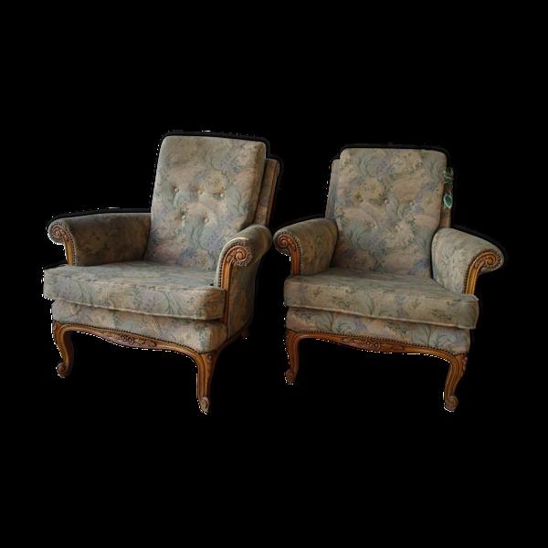 Deux fauteuils une femme et un homme Louis