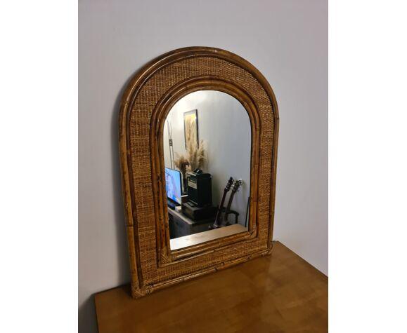 Miroir vintage rotin bambou 1960 55x75cm