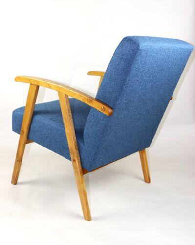Fauteuil vintage en tweed bleu des années 1970