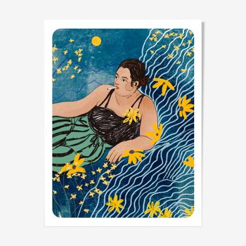 Illustration «La chambre Bleu» A4