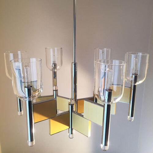 Lustre Maison Sciolari laiton et chrome six éclairages 1970