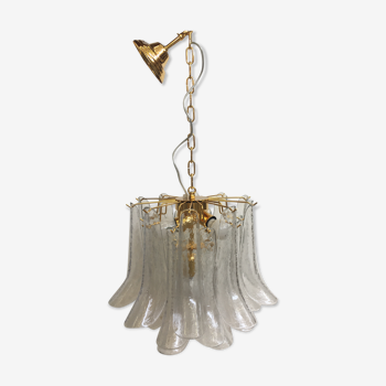 Lustre en verre de Murano avec l'or italien et le cadre en métal transparent