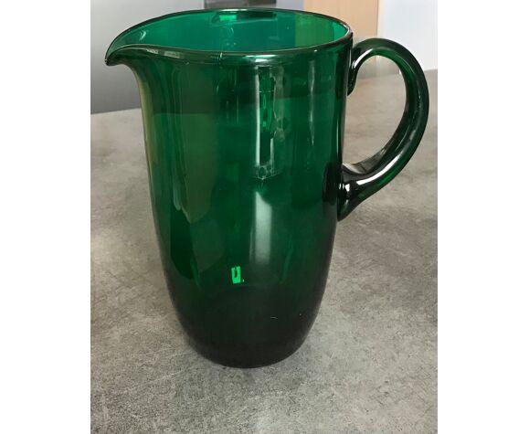 Pichet vintage en verre soufflé  vert émeraude